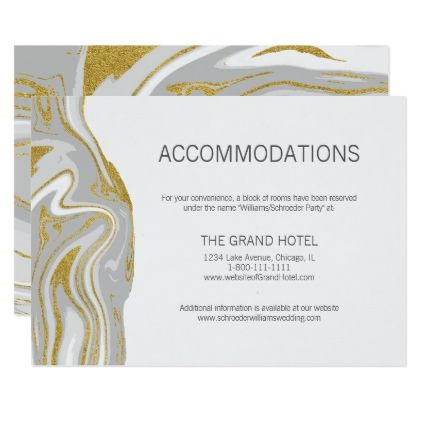 Modern Marble and Gold Wedding Accommodations Card - marble gifts style stylish nature unique personalize