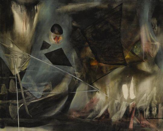 Roberto Matta (Chilean, 1911-2002), L'Impossible de l'un et de l'autre, c.1943. Oil on canvas, 51 x 64 cm.