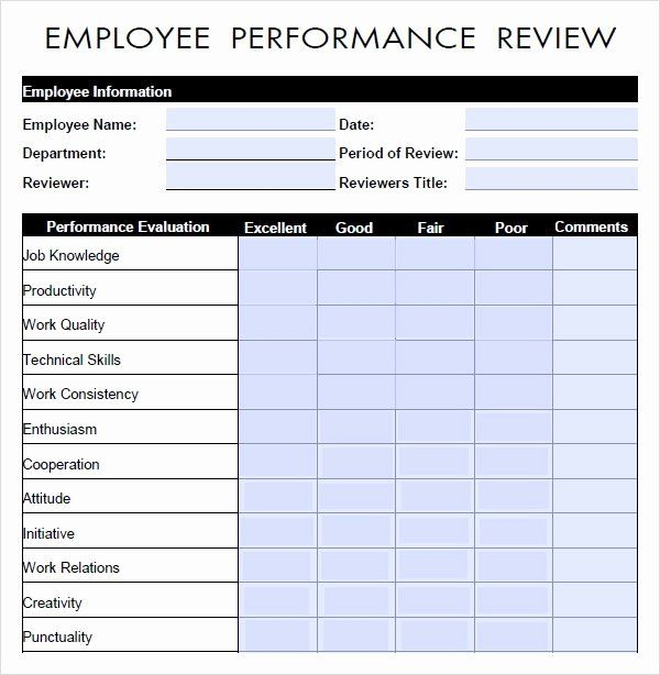 40 Employee Evaluation Form Template Word In 2020 Performance