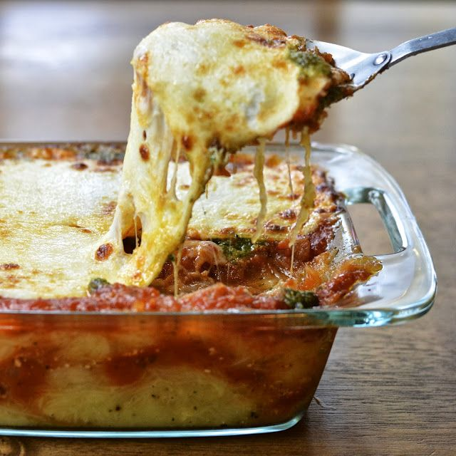 Virtually Homemade: Spaghetti Squash Lasagna with Basil Walnut Pesto - Virtually Homemade