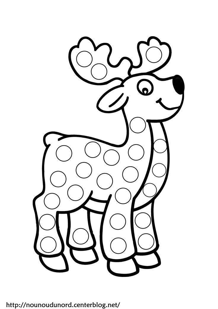 Coloriage renne à gommettes dessiné par nounoudunord