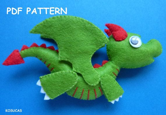 PDF sewing pattern to make a little felt dragon. by Kosucas