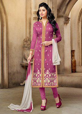 Onion Pink Chanderi Cotton Churidar Suit