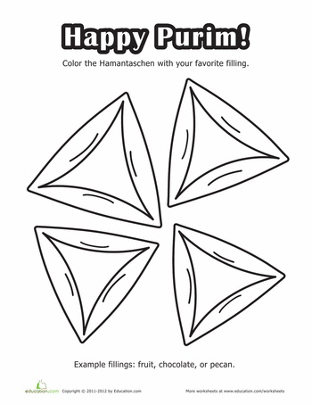 happy purim coloring page