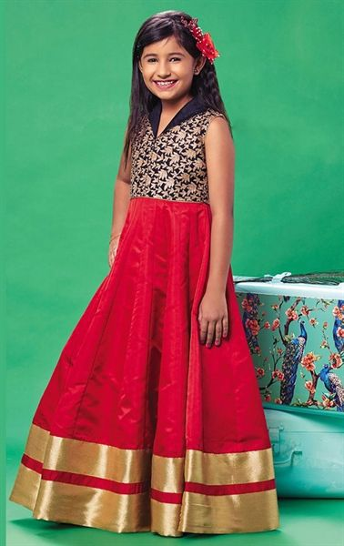 Picture of Gleaming Red Kids Designer Gown