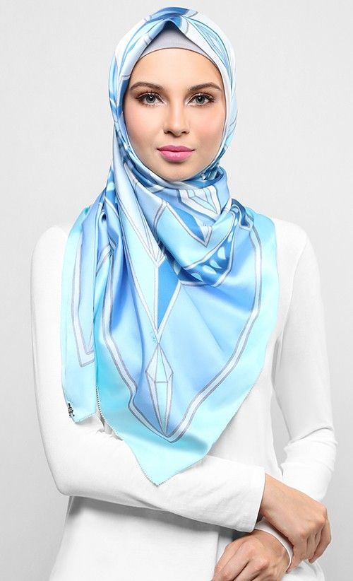 [SOLD] Kaleidoscope Square Scarf in Light Blue