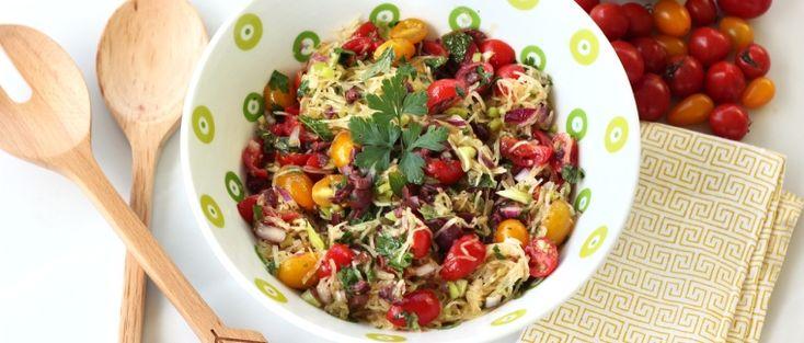 Mediterranean Spaghetti Squash Salad – #GlutenFree + #Vegan      Source: Mediterranean Spaghetti Squash Salad – Gluten-Free + Vegan | Free People Blog