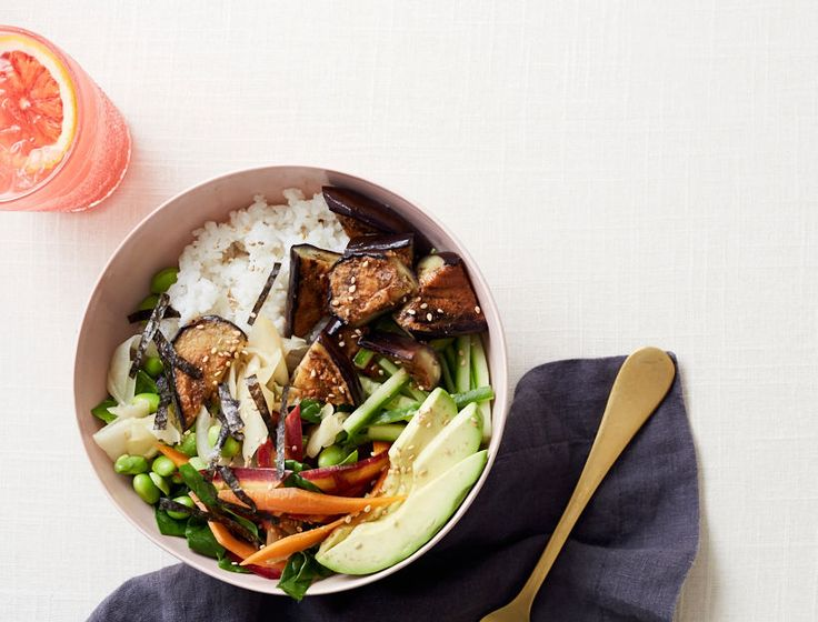 How to make a Sushi Bowl with Miso Glazed Eggplant for a quick and easy lunch