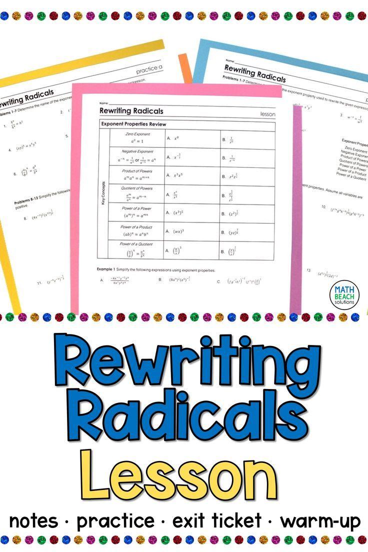 Rewriting Radicals Lesson Radical Expressions Simplifying Expressions Simplifying Radical Expressions