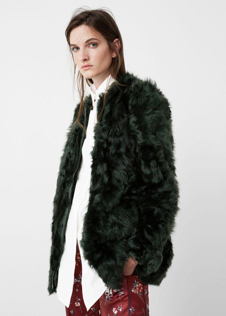 Fur leather coat   MANGO
