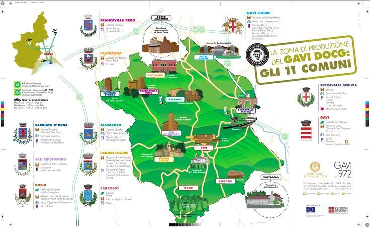 Mappa degli 11 comuni della zona di produzione del Gavi DOCG