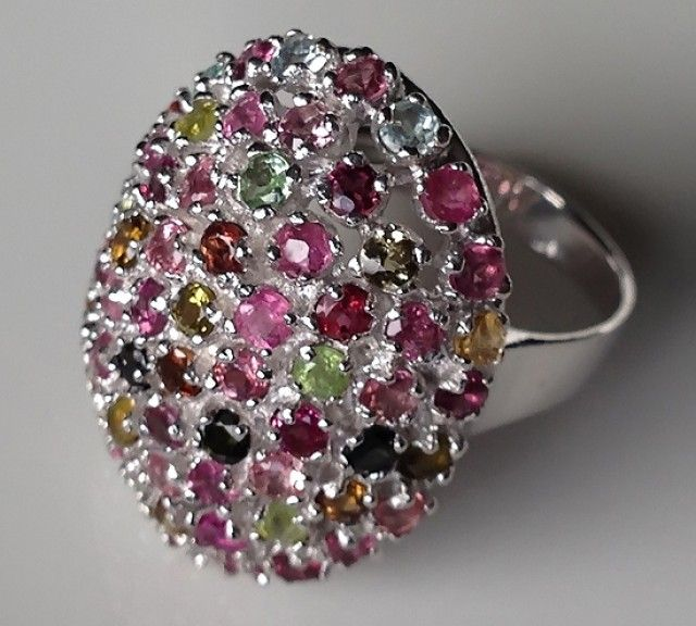 PRINCESS RING - GLORIOUS NATURAL TOURMALINES SIZE 7.0