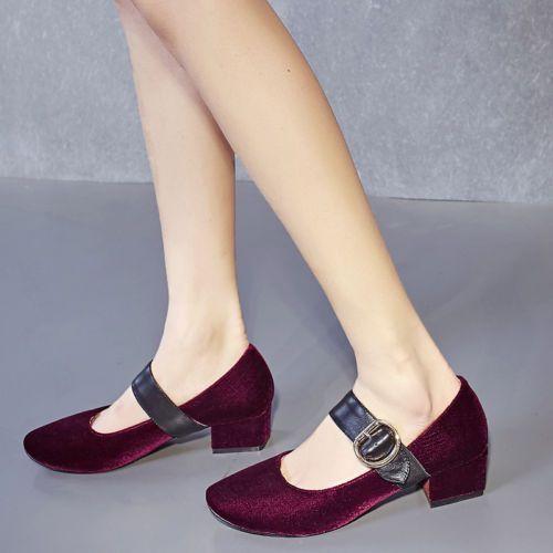 Korea Womens Grace Velvet Ankle Strap Buckle Low Heels Casual Date Shoes #anklestrapsheelslow