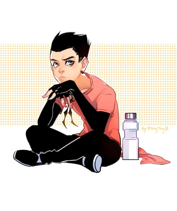 """#DamianWayne #Supersons 看到Supersons里面Damian日常训练的装束,觉得可爱又潮啊~忍不住立马涂一个,袖子的设计真的好帅~ """