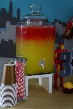 Red and yellow punch at a Avengers Iron Man birthday party! See more party ideas at CatchMyParty.com!