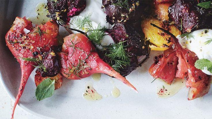 Crushed Beets with Lemon Vinaigrette Recipe | Bon Appetit