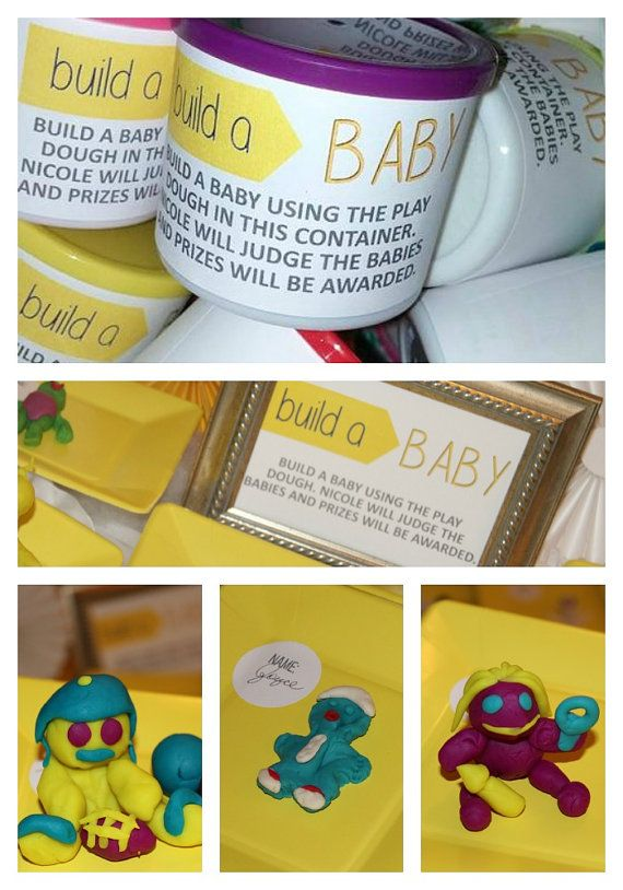 Baby Shower Rules Part - 36: Baby Play Dough - Build A Baby - Baby Shower Game- Play Dough Assembled  Containers