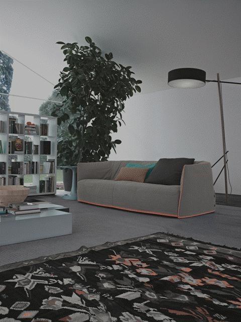POLIFORM: Wall System bookcase, Santa Monica sofa, Woodstock coffee table and Vulcano coffee table