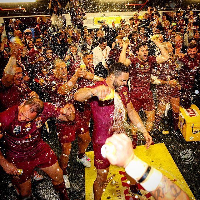 Celebration time @qldmaroons #Origin | pic @chukstagram