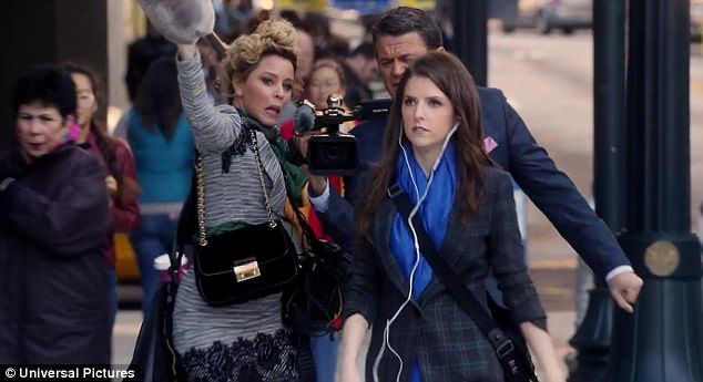 Hot copy:The trailer opens with Elizabeth Banks and John Michael Higgins filming Anna Ken...