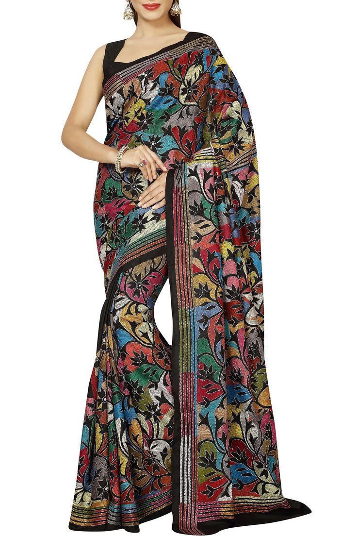 Reverse Kantha embroidery on black silk