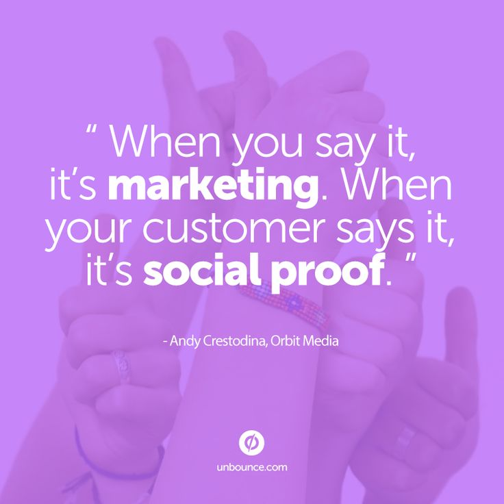 When you say it, it's #marketing. When your customer says it, it's social proof. Read more: http://unbounce.com/conversion-rate-optimization/psychology-of-social-proof/?utm_source=social&utm_medium=pinterest&utm_content=conversion-rate-optimization&utm_campaign=psychology-of-social-proof