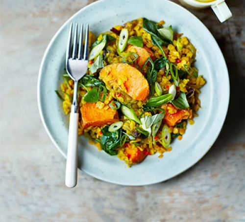Spinach, sweet potato & lentil dhal. A comforting vegan one-pot recipe that counts for 3 of your 5-a-day! You can't go wrong with this iron-rich, low-fat, low-calorie supper