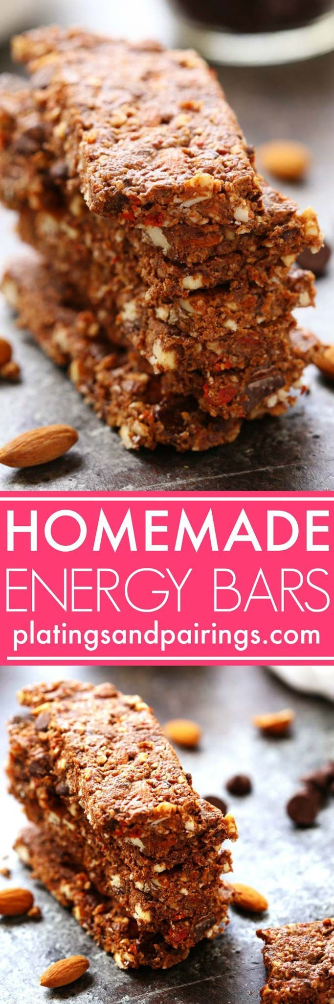 These Homemade Energy Bars with Dark Chocolate & Almonds make a perfect grab-and-go breakfast or healthy snack. They're packed with protein and fiber to keep you energized throughout the day. | platingsandpairings.com