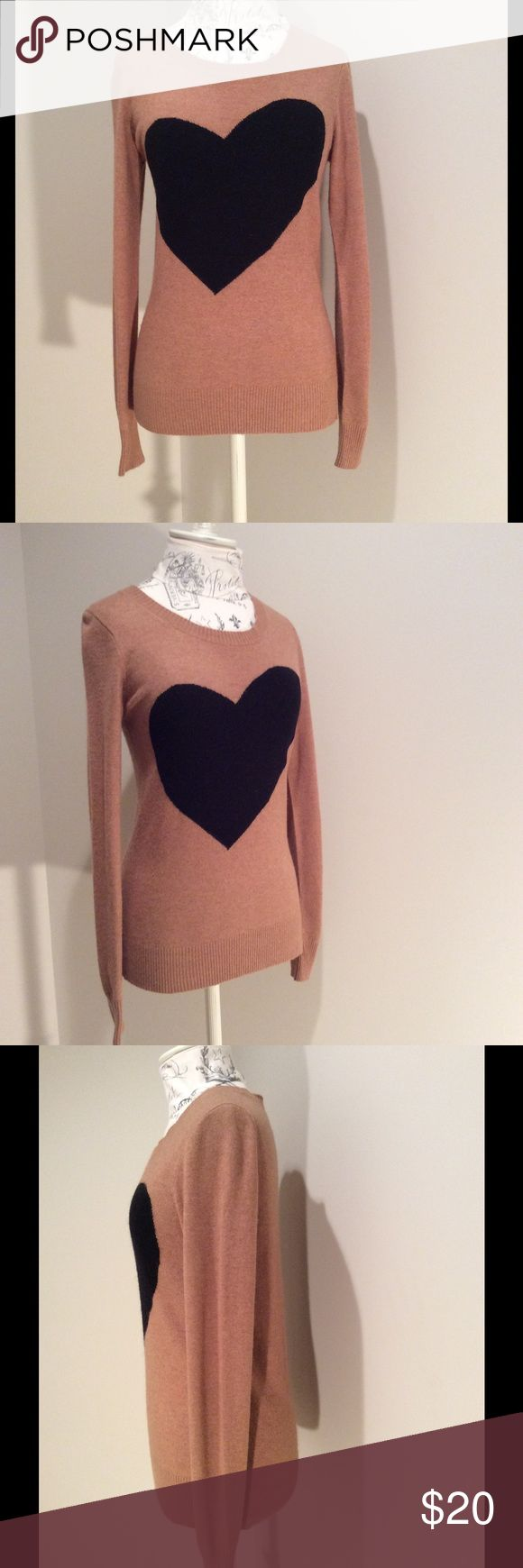 J Crew Factory Heart Sweater Beige sweater with black heart J. Crew Factory Sweaters Crew & Scoop Necks