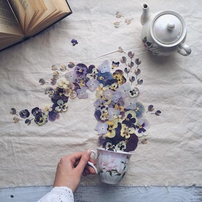 Rus Sanatçı Marina Malinovaya'dan Fincan ve Çiçeklerle Yapılmış 20 Muazzam Çalışma Sanatlı Bi Blog 19