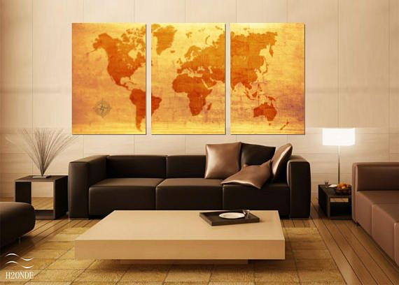 World map 3 piece print poster planisphere painting extra large antique abstract wall art digital office vintage living decor download gift