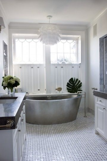 glam bathroom with silver stand alone tub marika meyer interiors rh pinterest com