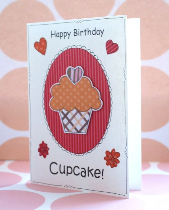 Cupcake Birthday Card  Personalised  by CraftyMushroomCards