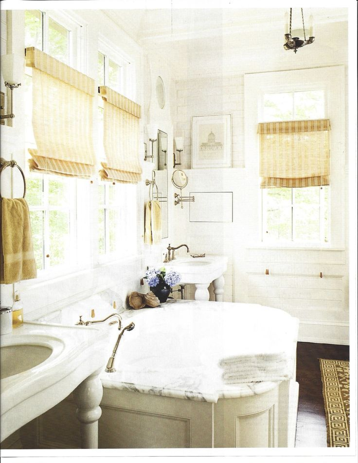 Marble Bath With White Tile And Pops Of Yellow Beautiful