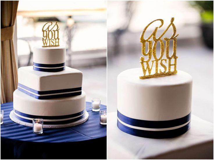 As You Wish Cake Topper on Wedding Cake #CakeToppers #WeddingCakes #Weddings #AsYouWish Bridgeview Yacht Club Wedding- Kim and Vinny's Big Day!  Modern Wedding Photography by Denise Chastain