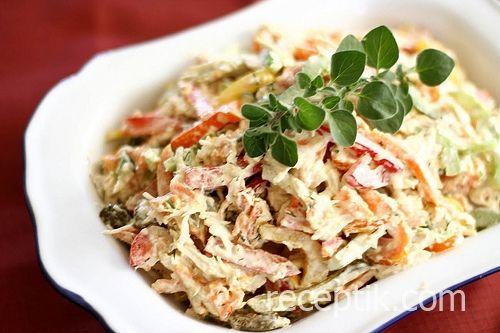 Салат шампиньоны маринованые креветки