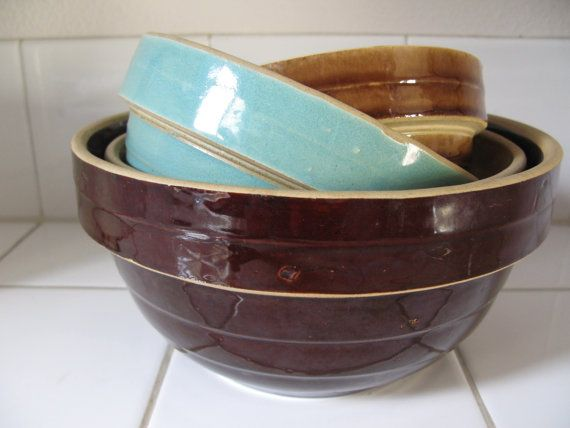 Vintage Banded Yellowware Stoneware Nesting by SterlingNielsen, $65.00