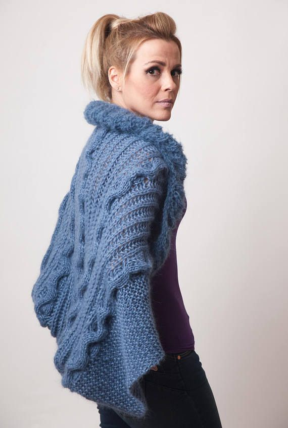 Knit shrug in denim blue open knit jacket loose fit alpaca