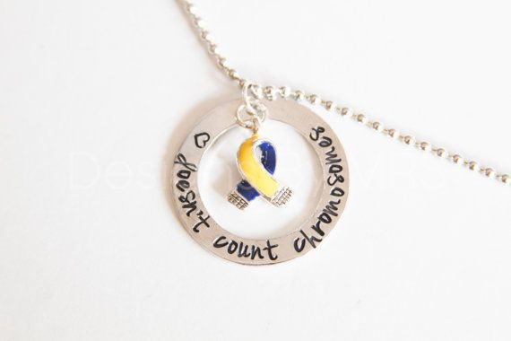 Love doesn't count chromosomes Down Syndrome Awareness Necklace with Awareness Ribbon - Hand Stamped on Etsy, $26.00