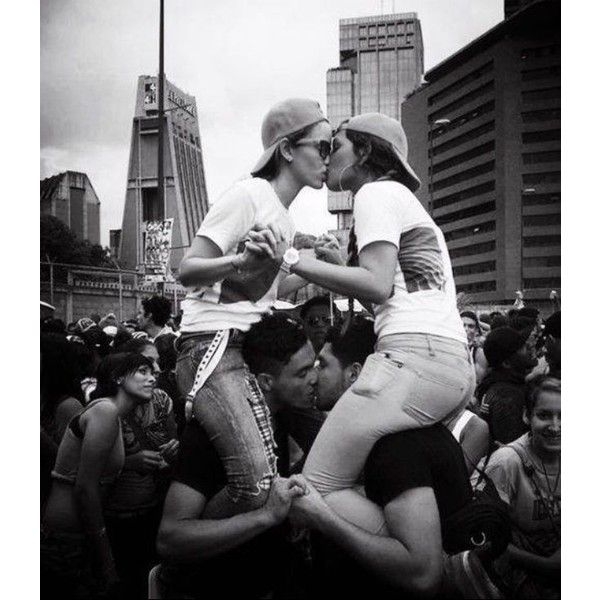 Gay and lesbian couple kissing LGTB ❤ liked on Polyvore featuring couples and love
