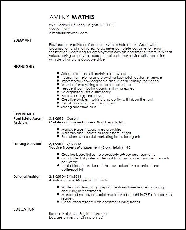 Apartment Leasing Agent Resume - The best estimate connoisseur