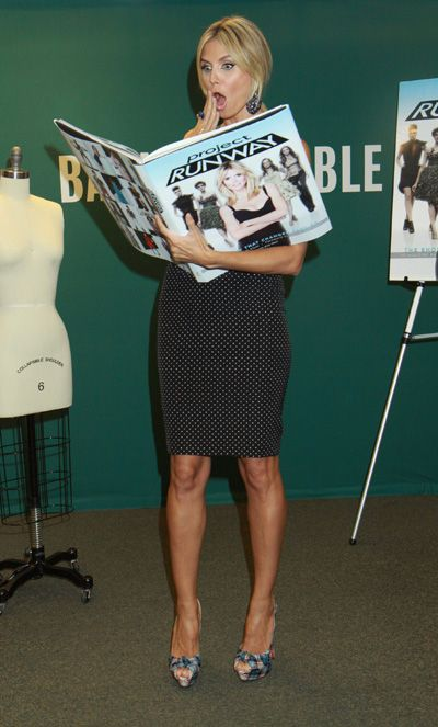 Heidi Klum promotes her giant Project Runway fashion book
