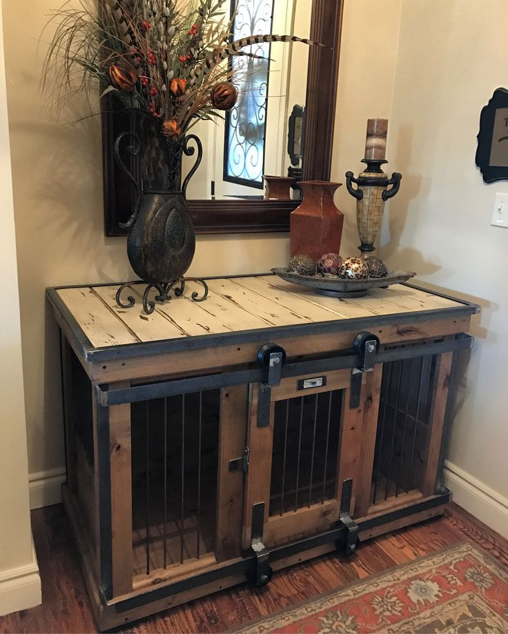 Farmhouse Style single dog kennel by Kennel and Crate! Barn door rollin' door that can remain wide opened for those that don't like to close up their pets!  We build pieces of furniture for your dog...not just a wooden crate with rebar.  Our are rolled st