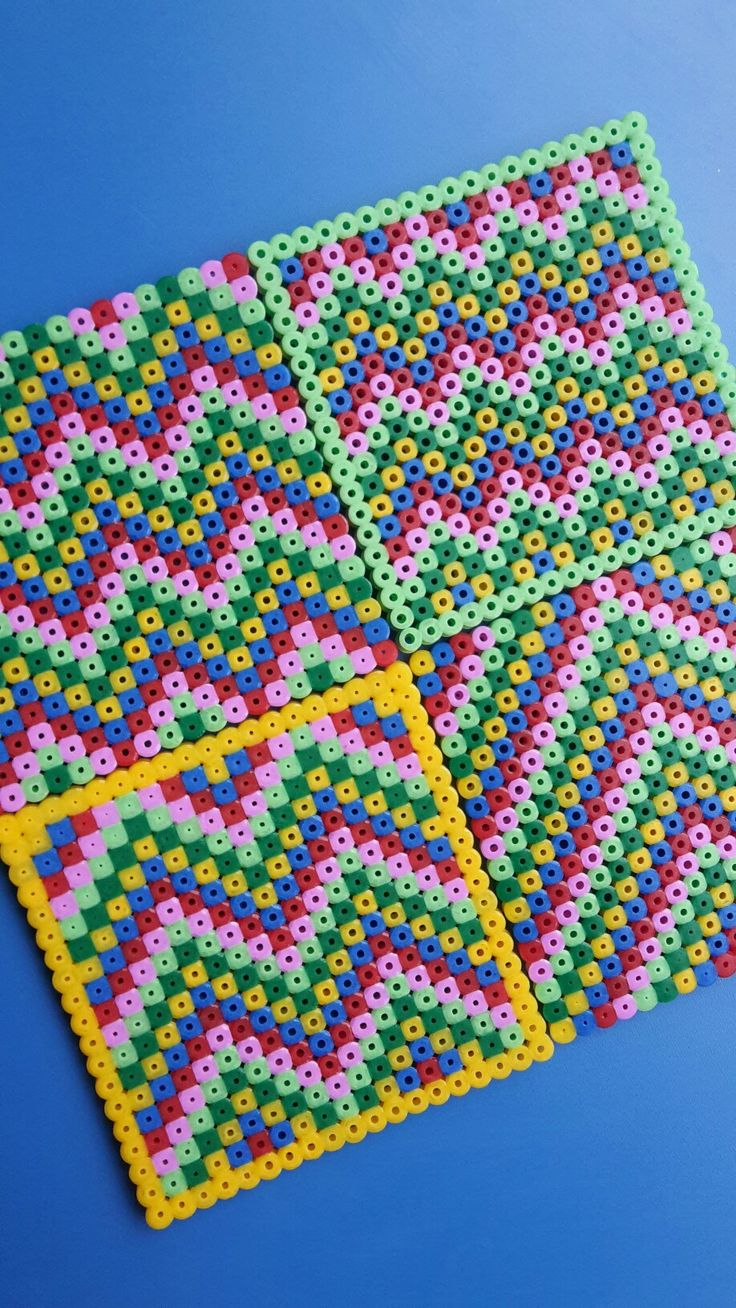 First attempt at Hama beads with 6yo - zigzag coasters