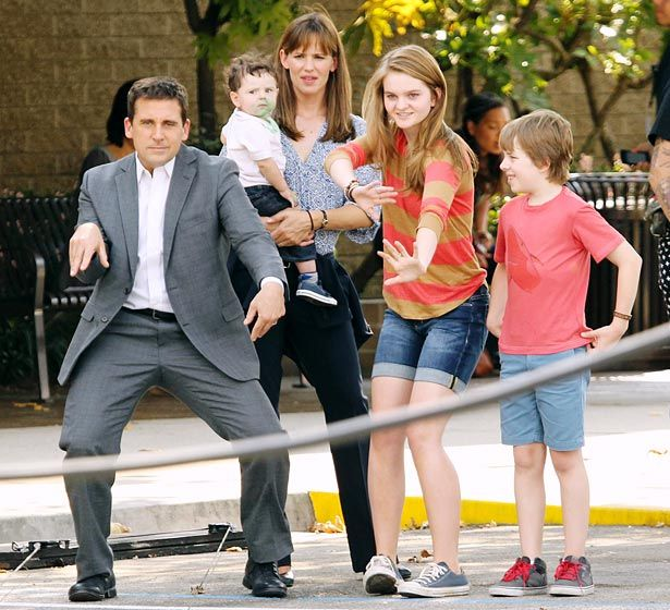 Jen's Movie Family Jennifer Garner and several kid actors watched Steve Carell bust a goofy move as they filmed Alexander and the Terrible, Horrible, No Good, Very Bad Day in Pasadena, Calif. Aug. 26.