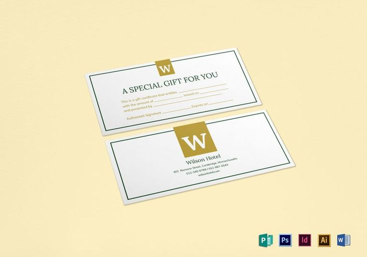 Hotel Gift Certificate Template  $12  Formats Included : MS Word, Illustrator, Photoshop, InDesign, Publisher  File Size : 9x4 Inchs #Certificates #Certificatedesigns #Giftcertificates