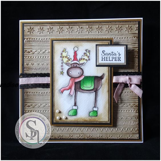8x8 Card using Crafter's Companion Nordic Christmas Collection and Spectrum Noir Glitter Pens, designed by Vicky Plowman-Render #crafterscompanion
