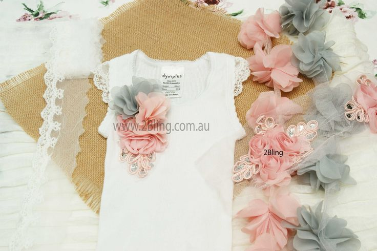 Just a little inspiration! Embellished baby's singlet with our gorgeous trim (Embroidery lace trim, peonies flower trim, sequin flower applique).  All the supplies can be found here.  www.2Bling.com.au