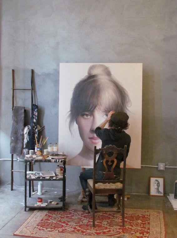 Matt Doust in his studio, from Artist and Studio