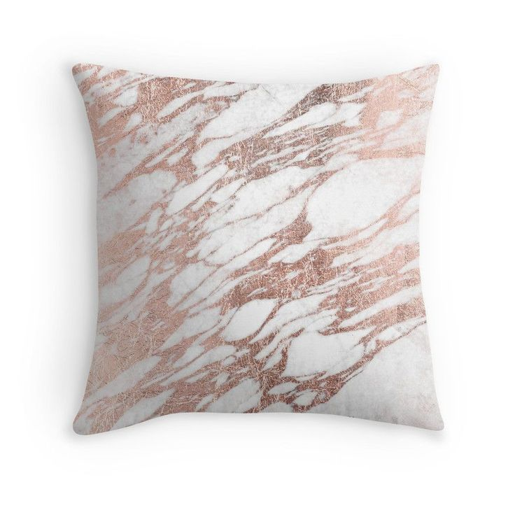 """Chic Elegant White and Rose Gold Marble Pattern"" Throw Pillows by Blkstrawberry 